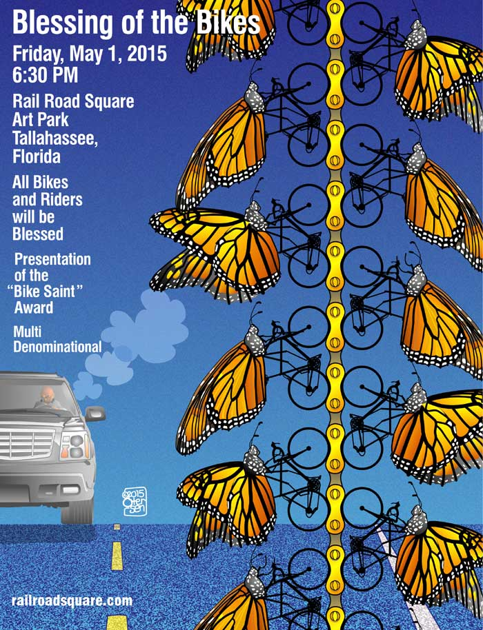 2015 Blessing of the Bikes Poster, Butterfly bicyclists.