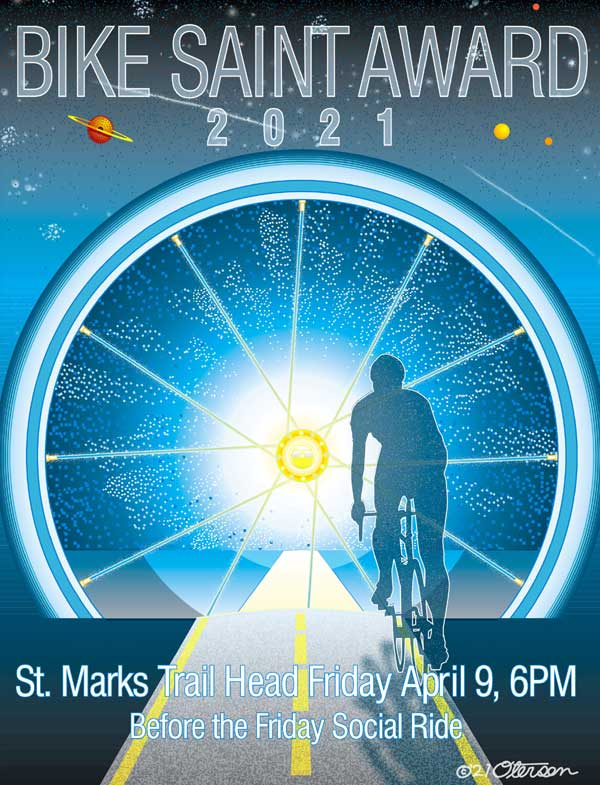 Bike Saint Award poster 2021, Ride into the Light.
