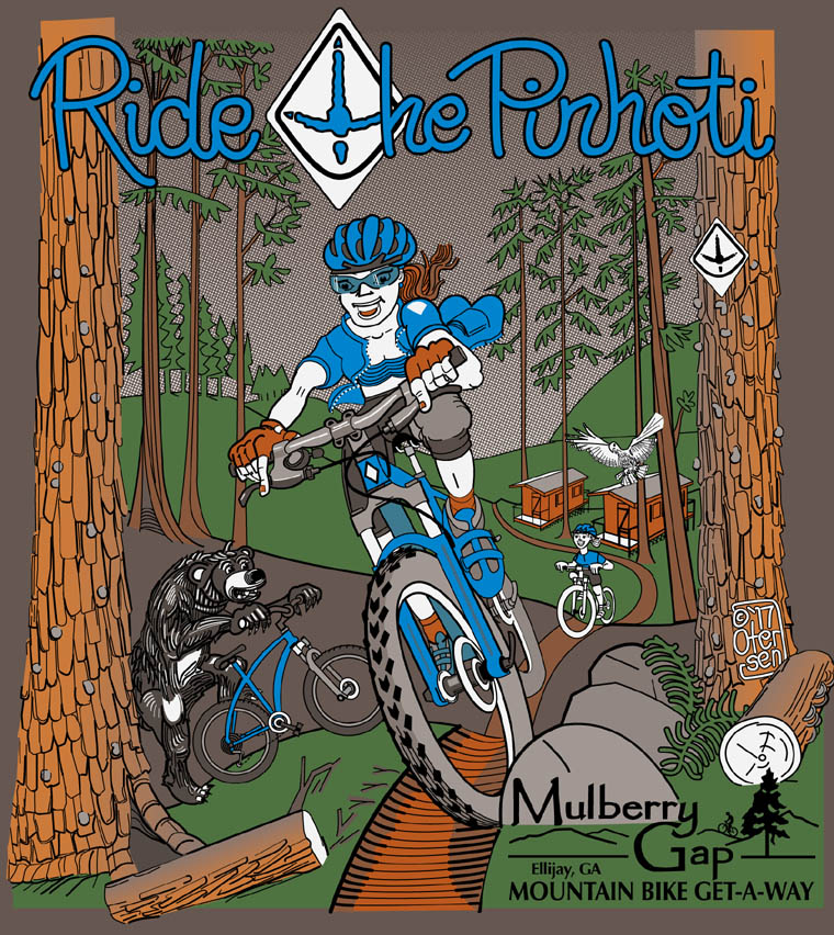 Vector rendering of 5 color tee shirt design for Mulberry Gap Mountain Bike Get-A-Way