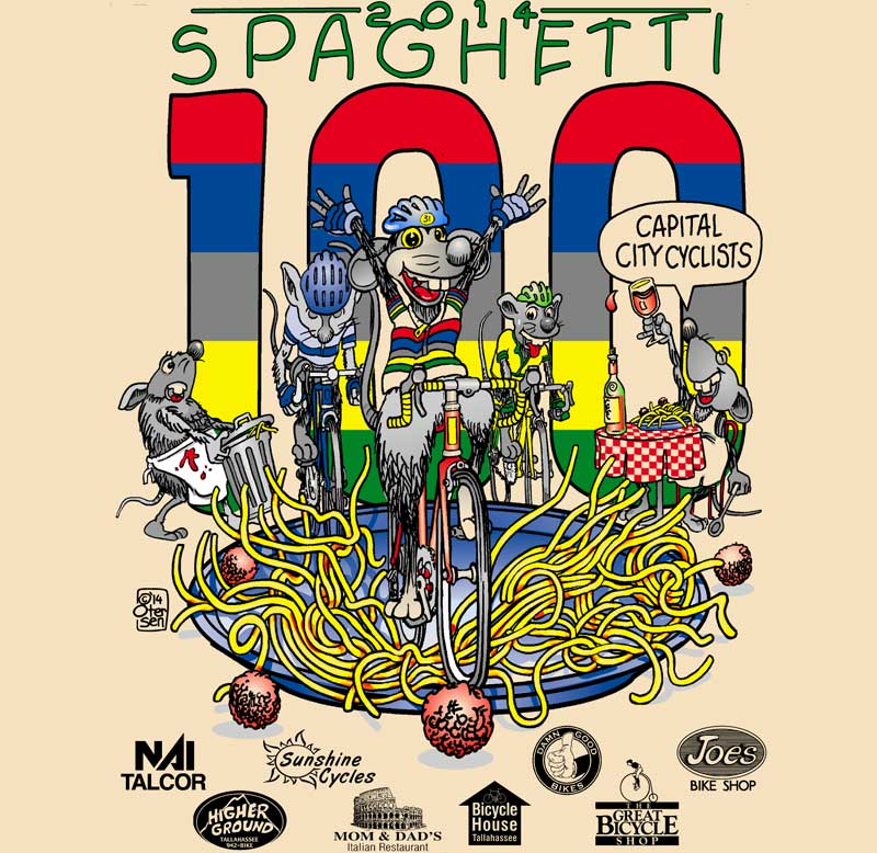 Line art for 2014 Spaghetti 100